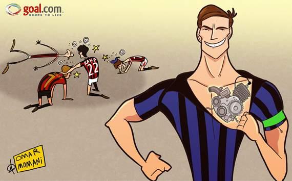 Kartun goal.com tentang rahasia stamina fisik Zanetti