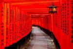 Jejeran torii bertuliskan nama perusahaan yang mirip lorong