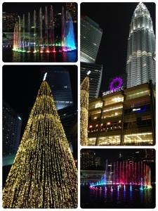Pertunjukan air mancur dan cahaya lampu yang diiringi lagu Cindai. Pohon natal raksasa di depan taman mall Suria KLCC